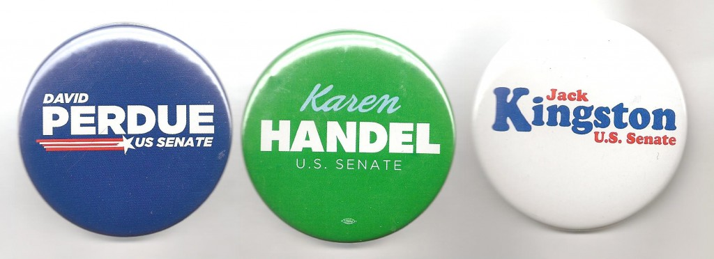 In Georgia's GOP primary to succeed the retiring Sen. Chambliss, Perdue leads in the polls but Handel has come up strong; Kingston is one of three House members who has given up his seat for the Senate run.
